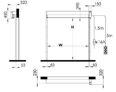Промышленные рулонные скоростные ворота Dynaco серии D-311-LF установочные размеры